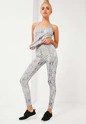 Missguided Active Grey Snake Print Sports Leggings