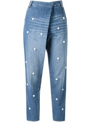 Muveil Pearl Embellished Jeans Blue
