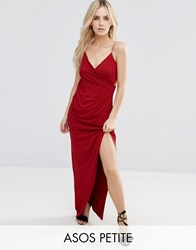 Asos Petite Drape Cami Maxi Dress Oxblood Red