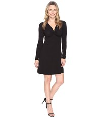 Mod O Doc Cotton Modal Spandex Jersey Twist Front Empire Seamed Dress Black Women's Dress