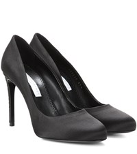 Stella Mccartney Crystal Embellished Satin Pumps Black