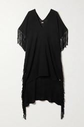 Caravana Net Sustain Bubtub Fringed Cotton Gauze Kaftan Black