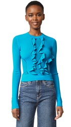 Cedric Charlier Long Sleeve Ruffle Sweater Light Blue