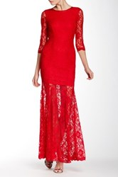 L'atiste 3 4 Length Sleeve Lace Maxi Dress Red