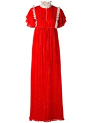 Manoush Frill Trim Maxi Dress Women Cotton Polyester 40 Red