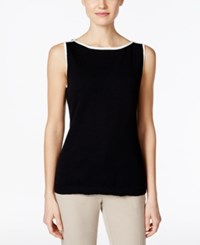 Charter Club Contrast Trim Knit Shell Only At Macy's Deep Black Combo