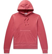 Officine Generale Olivier Garment Dyed Loopback Cotton Jersey Hoodie Red