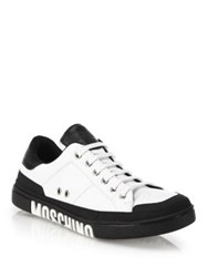 Moschino Clean Logo Sole Leather Sneakers White Black
