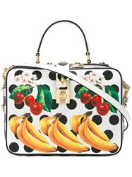 Dolce And Gabbana Fruit Print Satchel White