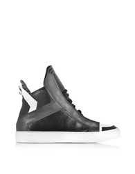 Ylati Zeus Black Dark Grey And White Leather High Top Sneaker