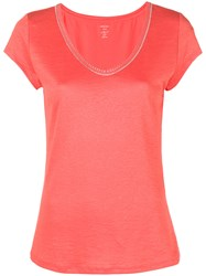 Marc Cain Scoop Neck T Shirt Yellow And Orange