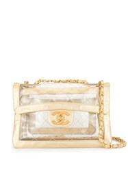 Chanel Vintage Quilted Jumbo Xl Double Chain Bag Gold