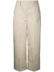 Christophe Lemaire Cropped Trousers Women Cotton Spandex Elastane 36 Nude Neutrals