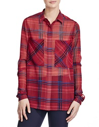 424 Fifth Printed Plaid Boyfriend Shirt Berry