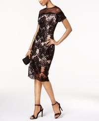 Jax Sequined Lace Illusion Sheath Dress Black