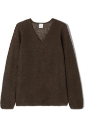 Max Mara Ribbed Mohair Blend Sweater Brown