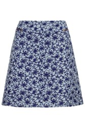 Almost Famous Embroidered Floral Mini Skirt Blue