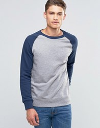 Esprit Contrast Raglan Sweat With Coloured Fleck Navy