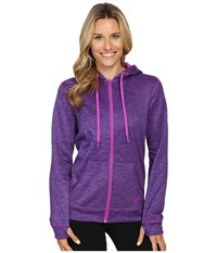 Adidas Team Issue Fleece Full Zip Hoodie Shock Purple Heather Women's Sweatshirt
