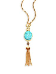 Stephanie Kantis Sky Turquoise Howlite And Smoky Topaz Tassel Pendant Necklace Blue Gold