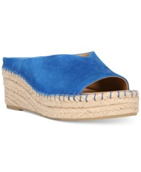 Franco Sarto Pine Slip On Espadrille Wedge Mules Women's Shoes Mediterranean Blue