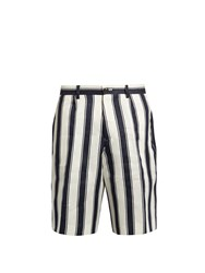 Tomorrowland Relaxed Fit Striped Linen Shorts Navy Stripe