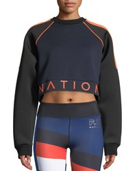P.E Nation End Plate Cropped Pullover Sweatshirt Multi