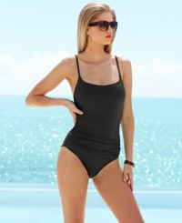 Anne Cole Classic Ruched One Piece Swimsuit Women's Swimsuit Black