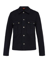 Barena Venezia Cotton Blend Overshirt Navy