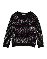 Little Marc Jacobs Long Sleeve Striped Sweater W Large Sequins Size 4 5 Black