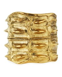 Saint Laurent Opyum Croco Cuff Bracelet Gold
