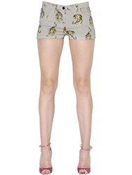 Giamba Tigers Printed Cotton Denim Shorts