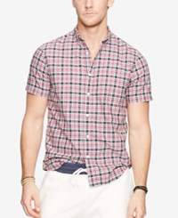 Denim And Supply Ralph Lauren Men's Plaid Oxford Shirt Red White Blue