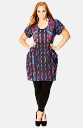 Plus Size Women's City Chic 'Mirrored Paisley' Print Scoop Neck Tunic