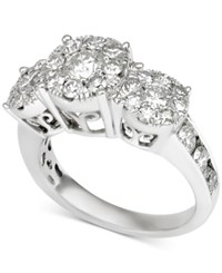 Macy's Diamond Three Stone Cluster Engagement Ring 2 Ct. T.W. In 14K White Gold