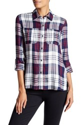 Jessica Simpson Dion Plaid Roll Sleeve Shirt Red