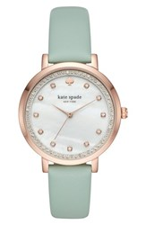 Kate Spade 'S New York Monterey Crystal Dial Leather Strap Watch 38Mm Green Mop Pink