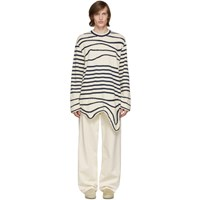 Lanvin Navy And Off White Stripe Asymmetric Pullover