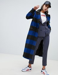 Na Kd Check Lightweight Coat In Black And Blue