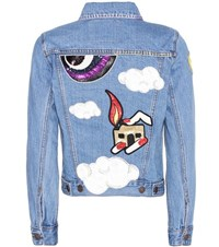 Marc Jacobs Embellished Denim Jacket Blue