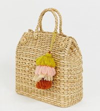 Accessorize Straw Effect Basket Tote Bag Beige