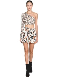 Roberto Cavalli Cut One Shoulder Light Jersey Mini Dress Multicolor