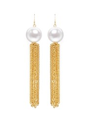 Kenneth Jay Lane Chain Tassel Glass Pearl Earrings Metallic