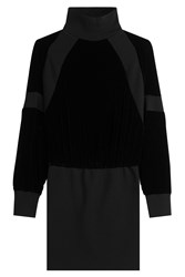 Dkny Knit Sweater Dress With Velvet Black