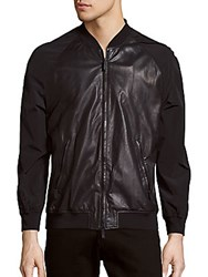 Giorgio Armani Leather Long Sleeve Jacket Denim