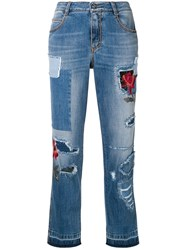 Ermanno Scervino Ripped Jeans With Embroidery Details Blue