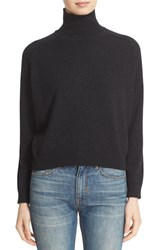 Vince Women's Drop Shoulder Cashmere Turtleneck Sweater Heather Charcoal