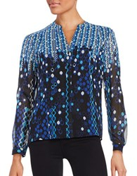 Karl Lagerfeld Long Sleeve Printed Crepe Blouse Blue