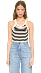 Edith A. Miller Old Fashioned Soft Soul Tank Black Natural Classic Stripe