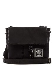 Versace Technical Canvas Cross Body Bag Black